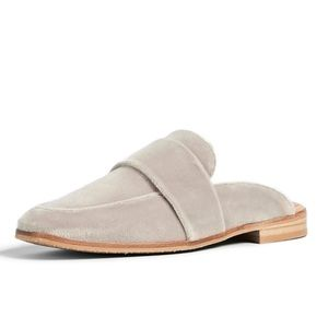Free People Grey At Ease Slip On Velour Mule Shoes